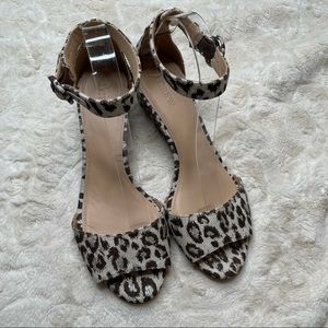 J.Crew Laila Wedge Leopard Ivory Brown Silver 8.5